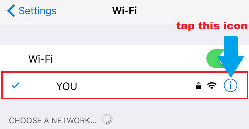 wifi hiển thị trên iphone