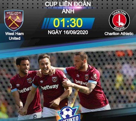 Fun88 Soi Kèo bóng đá West Ham vs Charlton 1h30 ngày 16/9 (Cúp Liên đoàn Anh 2020/21)